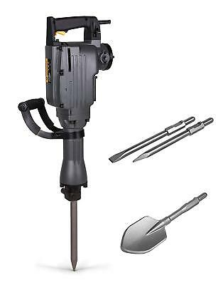 TR Industrial Electric Demolition Jackhammer with Point, Flat and Spade Shovel