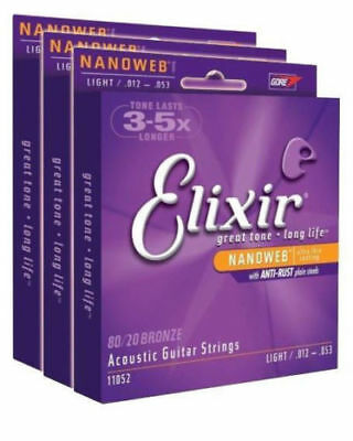 SETS!! Elixir 11052 80/20 Bronze Acoustic Guitar Strings NANOWEB Coatin 3PCS