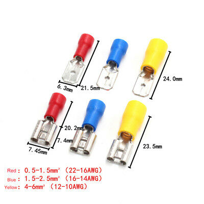 6.3mm Car Electrical Wiring Insulated Spade Terminal Crimp Connector Male Female