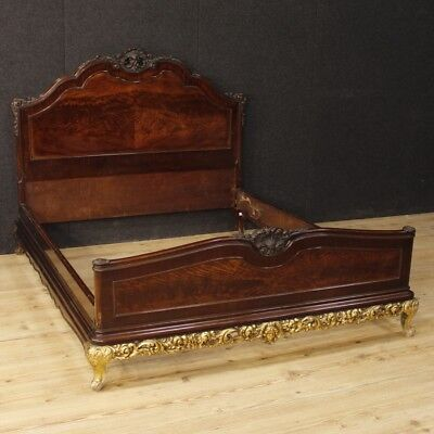 Bed Spanish furniture mahogany golden wood antique style bedroom antiques 900