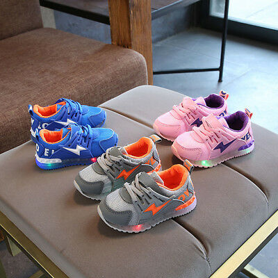 Child Kids Baby Girls Boys LED Luminous Sport Mesh Shoes Sneakers 1-6Y Casual