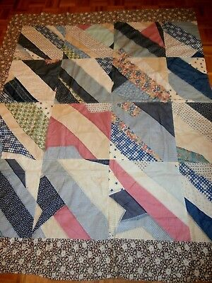 "Vintage handmade Crazy pattern Quilt Top 66"" x 87"" Very pretty fabrics"
