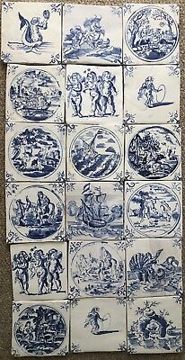18 Hand made Delft reproduction tiles 5'' Square, based on original 17th Century