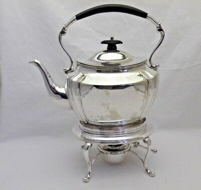 Silver Plate Antique Spirit Tea Kettle Teapot on Stand with Burner