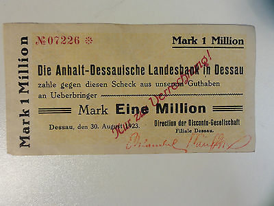 NOTGELD 1 Million Anhalt-Dessauische Landesbank 1923      1 different     Nr.148