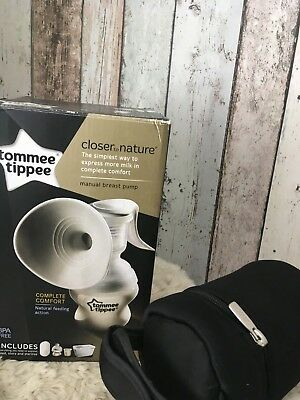 Brand New Boxed Tommee Tippee Manual Breast Pump With Added Bottle Holder