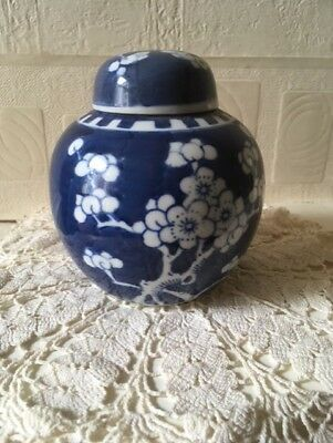 Vintage Chinese Ginger Jar Hand Painted With Original Amoy Canning Co Label