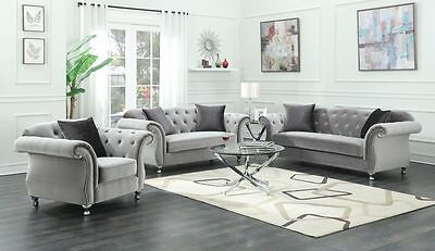 Delicieux Glamorous Silver Velvet Crystal Tufted Sofa Love Seat Living Room Furniture  Set