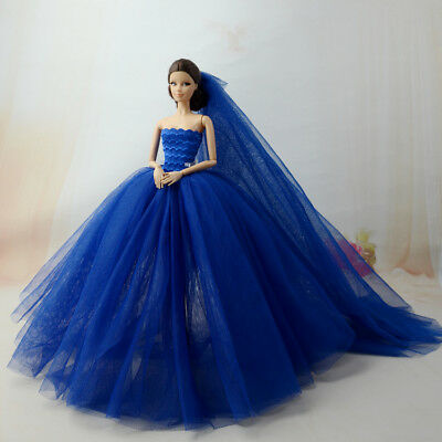 Blue Fashion Royalty Princess Dress/Clothes/Gown+veil For Barbie Doll