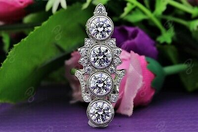 3.2 Ct Vintage Art Deco Antique Round Cut Engagement Ring 925 Sterling Silver