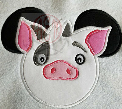 Personalized Pua the Pig Mousehead T-shirt machine embroidered