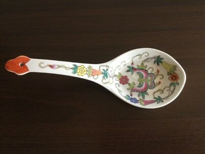 Big Porcelain Chinese Famille Rose Spoon with Butterfly & Flowers