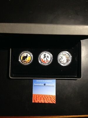 2013 Australian Outback Colored 1/2 Silver 3 Coin Collection