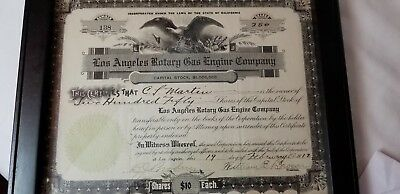 Rare Los Angeles Rotary Gas Engine Co. Stock Certificate 1912 $2500.00