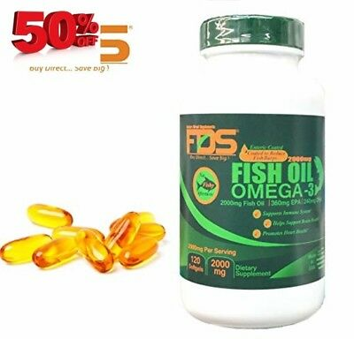 Pure Omega 3 Fish Oil Concentrate-Enteric Coated Burpless FREE Shipping, NEW, US