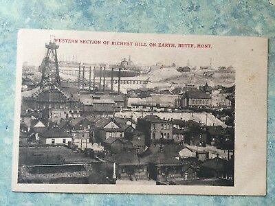 Vintage BUTTE MT postcard  WESTERN section of RICHEST HILL on earth. Unposted
