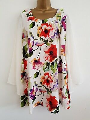 NEW Plus Size 16-28 Bell Sleeve White Green Red Purple Floral Tunic Top Blouse