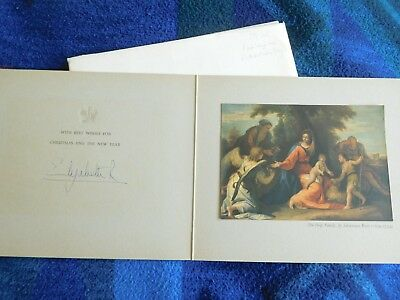 Queen Elizabeth - lovely signed Chirstmas card from 1958