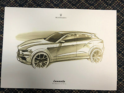 Maserati Levante Sketched Print 16 1/2 X 11 1/2  Set of 2
