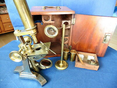 Antikes Messing Mikroskop James How um 1870 , microscope brass antique , ancien