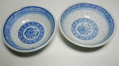 """2 Chinese Porcelain Rice Grain Sauce Dipping Bowls.2 1/2"""" x 7/8""""-Floral Centers"""