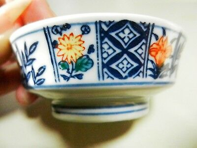 """Asian SIGNED Oriental Soy Sauce 3"""" Blue & White Dipping  Bowl-Orange Flowers"""