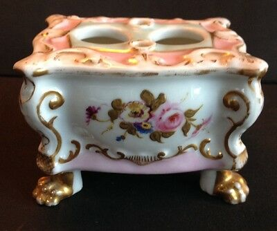 Lovely 19th Century French Porcelain Inkwell - Free Postage
