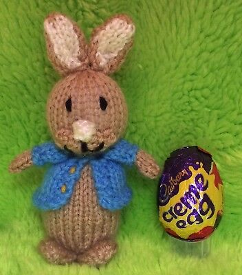 KNITTING PATTERN Easter Peter Rabbit inspired choc cover fits Creme Egg