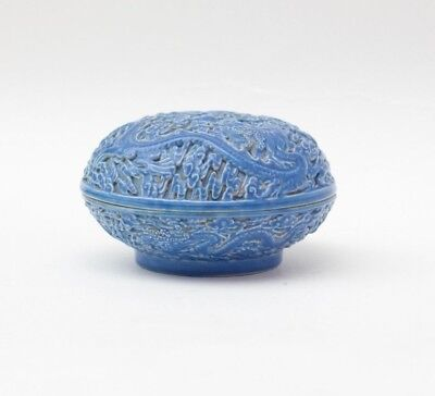 Porcelain seal paste box in blue with dragon, China