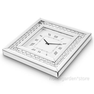 Panana Floating Crystals Bevelled Mirror Glass Square Wall Clock 50x 50cm Silver