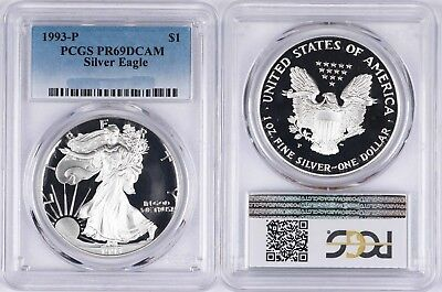1993-P Proof Silver American Eagle Dollar $1 PCGS PF69 DCAM ASE