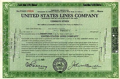 The United States Lines Company 1947 Ocean Liners-Cargo Ships Stock Certificate
