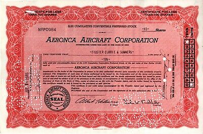 Aeronca Aircraft Corporation of Ohio 1946 Stock Certificate