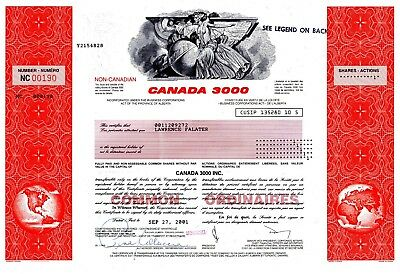 Canada 3000 ( Charter Airlines ) of Alberta 2001 Stock Certificate - uncancelled