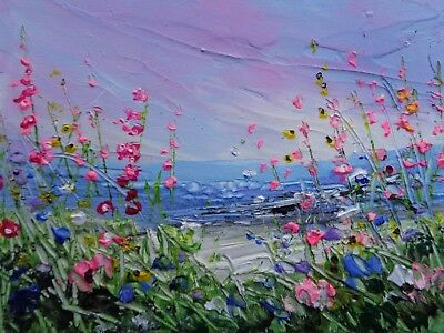 ACRYLIC OIL TEXTURED PAINTING ON CANVAS WILD FLOWER MEADOW 5 x 7