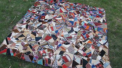VERY RARE Named Antique 1890 MEMORIAL PATCHWORK CRAZY QUILT, New England, Crafts