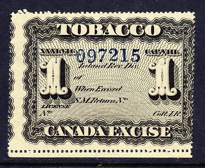 Canada Used Canada Excise 1 Tobacco Tax Stamp Block W.M. large number