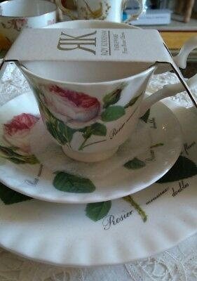 Roy Kirkham Redoute English China Trio, Roses, Unused in origanal packaging.