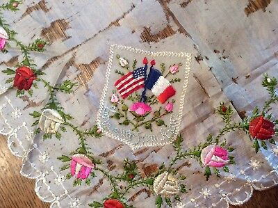 "Antique Silk Handkerchief ""Souvenir From France"" Poor Condition (For Salvage?)"