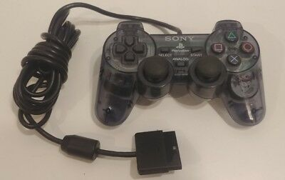 OFFICIAL Clear Black Sony PlayStation 2 PS2 Dualshock 2 Controller TESTED WORKS