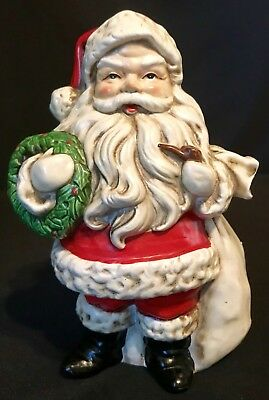 Vintage R/B Santa With Wreath Pipe & Toy Bag Christmas Paper Mache Plaster Japan