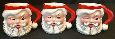 Vintage Napco Winking Santa Mug Christmas Set of 3 KDX244 Ceramic Japan 1950s