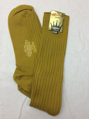 Vintage Hanover Men's Dress Socks 100% Nylon Stretch Gold Mustard  Fit 10-13