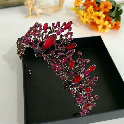 vintage antique style design tiara red pink  purple flowers diamante