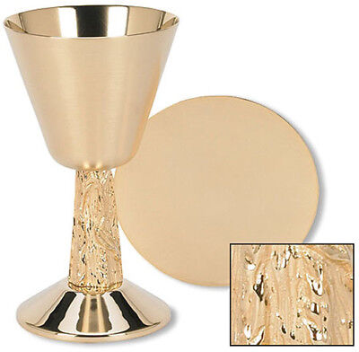 Satin Cup with Hand Cast Vine Stem Chalice & Paten Set - Free Shipping