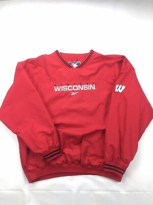 Sports Mem, Cards & Fan Shop Vintage 90s Reebok Wisconsin Badgers Ncaa Coaches Pullover Jacket Red Xl
