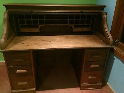 Antique English Solid Oak Roll Top Desk Beautiful Statement Piece