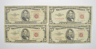 Lot of (4) $5.00 Red Seal Old US Notes Currency Collection 1953 *343