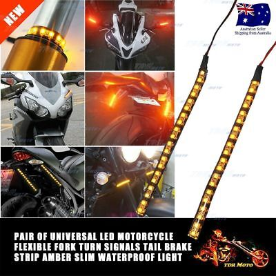 Pair of 12V Car Motorcycle 15CM 20SMD LED Amber Waterproof Flexible Light Strip