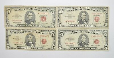 Lot of (4) $5.00 Red Seal Old US Notes Currency Collection 1963 *356
